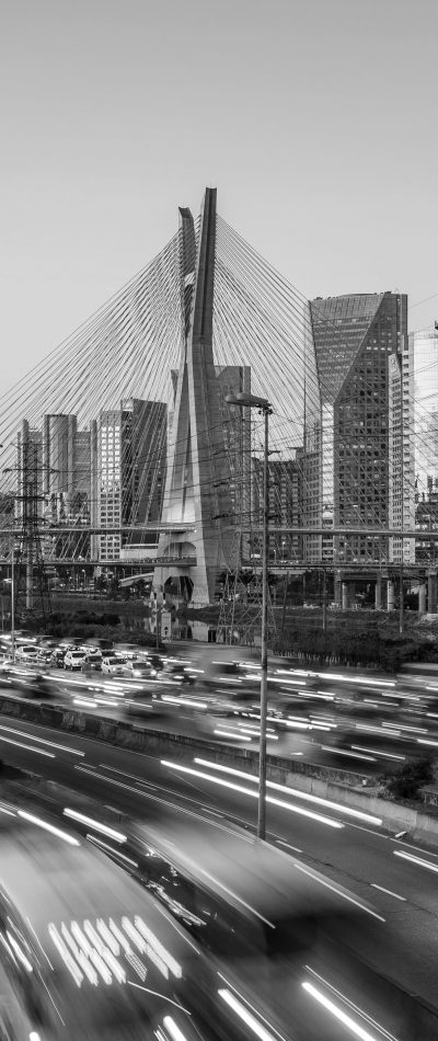 Octavio Frias de Oliveira Bridge in Sao Paulo Brazil at twilight